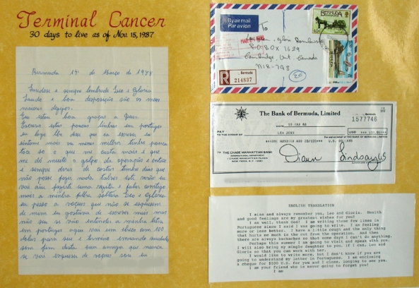 Poster of letter received from woman whose terminal cancer was healed by Leo Jean in 1987