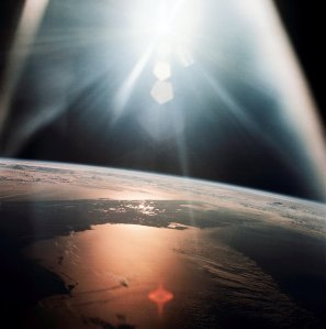 The morning sun reflects on the Gulf of Mexico and the Atlantic Ocean as seen from the Apollo 7 spacecraft during its 134th revolution of the Earth on Oct. 20, 1968. Image Credit: NASA