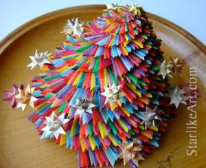 Leo Jean's Starlike© Satellite Star large paper sculpture on wood base