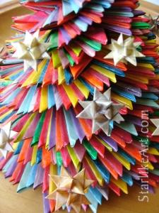 Leo Jean's Starlike© Satellite Star large paper sculpture on wood base