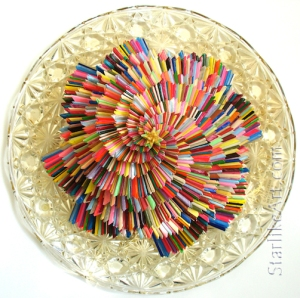 Leo Jean's large Starlike© paper sculpture mounted on round crystal platter