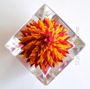 Leo Jean's Starlike© paper sculpture mounted on crystal box