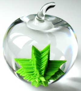 Leo Jean's Starlike© paper sculpture on crystal apple
